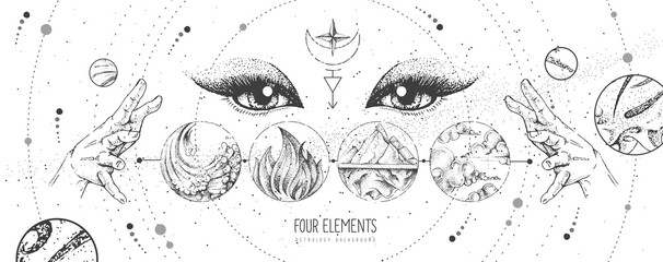 Modern magic witchcraft card with solar system, four elements and fortune teller eyes. Hand drawing occult vector illustration of water, earth, fire, air Fotomurales