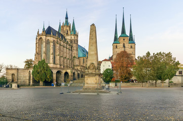 Fototapete - Erfurt Cathedral and Severikirche, Germany