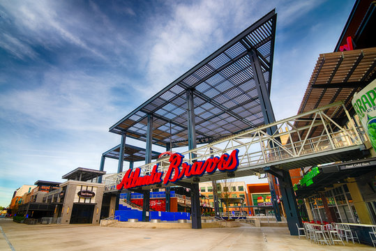 Atlanta, GA -- March 26, 2020: Entrance to the Battery next to Truist Stadium, where the Atlanta Braves play their home baseball games. The Battery is a shopping district with bars and restaurants.