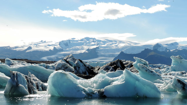 Scenic View Of Glaciers Against Sky