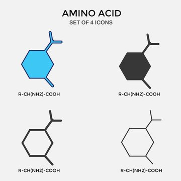 amino acid carbon chain vector icon organic chemistry icon