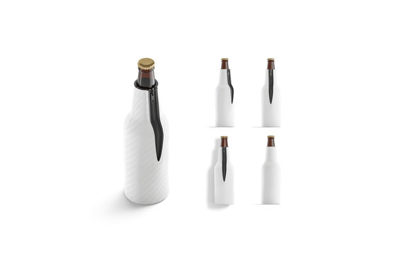 Blank white collapsible beer bottle koozie mockup, different views
