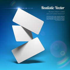 Obraz Mockup of Business Cards. Fan Stack at a Studio Dark Blue Background. Layered Template for Design with Transparent Shadows. - fototapety do salonu