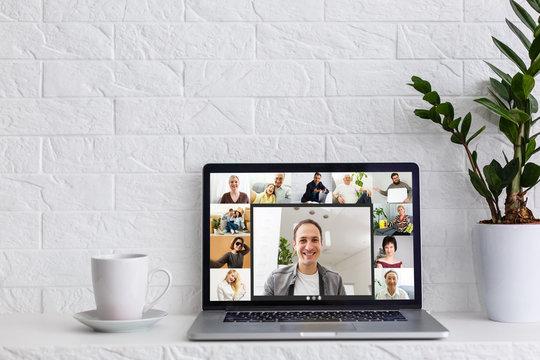 Many portraits faces of diverse young and aged people webcam view, while engaged in videoconference on-line meeting. Group video call application easy usage concept
