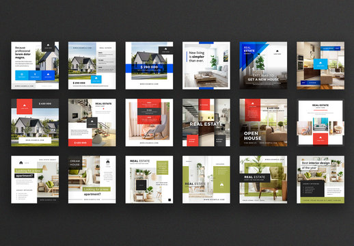 Social Media Post Layout Set with Color Overlays