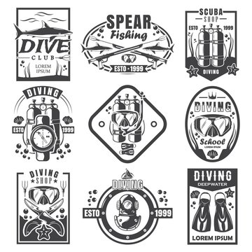 Scuba diving and spearfishing vintage logo set, vector monochrome illustration