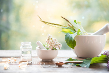 homeopathic granules, medicinal herbs on a natural wooden table on a natural background. alternative medicine and homeopathy