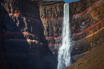 Hengifoss is a waterfall in Iceland. At 128 meters, it is the second highest in the country. It is located on the Hengifossa river, in Fljotsdalshreppur