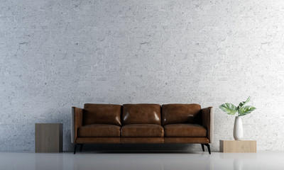 Minimal living room interior design and brick wall texture background