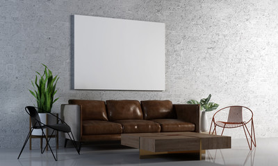Modern loft living room interior design and brick wall texture background and picture frame