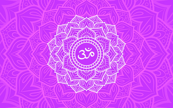 Sahasrara, crown chakra symbol. Colorful mandala. Vector illustration