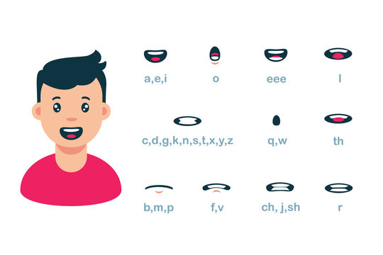 Cartoon male mouth lip sync set of speech animation vector flat illustration. Boy with collection face talk expression isolated. Speaking guy with tongue, teeth and lips position letters telling