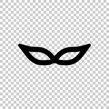Masquerade mask, carnival or party. Black symbol on transparent background