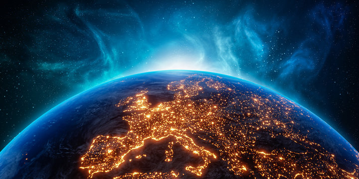 City lights Europe continent at night from outer space. 3D rendering illustration. Earth map texture provided by Nasa. Energy consumption, electricity, industry, power supply, ecology concepts.