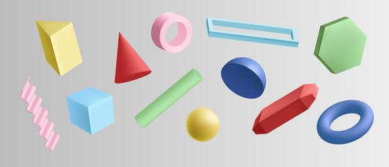 Set of colorful 3d geometric shapes isolated on white background. Collection of different abstract simple geometry design element vector graphic illustration. Glossy shape in motion