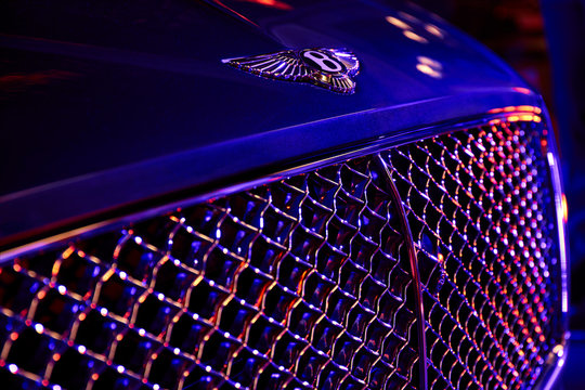 Katowice/Poland - 02.15.2018: Logo on the bonnet of the Bentley Continental GT