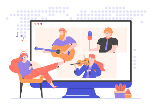 Online concert of famous musicians and singers. Girl in headphones listens to music at home, sitting in a chair. Artists on a monitor screen: guitarist, violinist, singer. Internet broadcast. Vector.