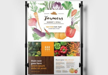 Farmer's Market Poster Layout with Watercolor Illustrations