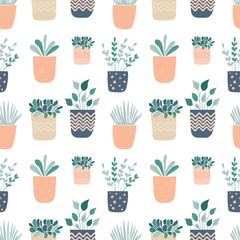 Hand drawn plants in pot. - seamless pattern. - vector