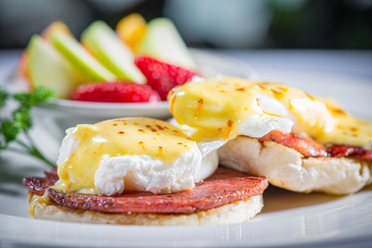 Eggs Benedict with Side of Fruit
