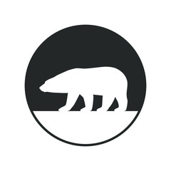 Polar bear graphic icon. Arctic bear sign in the circle isolated on white background. White bear symbol. Vector illustration