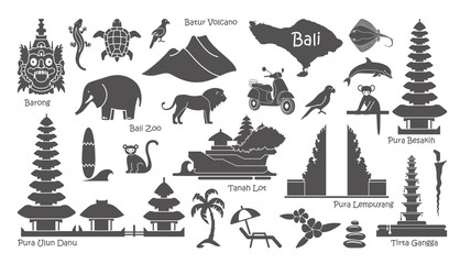Bali, Indonesia icons set. Attractions, flat design. Tourism in Bali, isolated vector illustration. Traditional symbols Wall mural