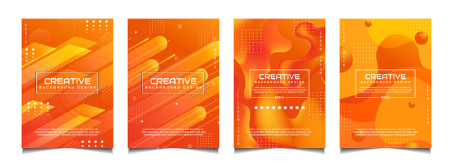 Set of trendy gradient cover design abstract background template with dynamic soft orange and wavy fluid shapes. Vector a4 layout can use modern poster, flyer, annual report, book, presentation Wall mural