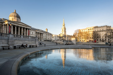 Poster London LONDON, UK - 23 MARCH 2020: Empty streets at the National Gallery Trafalgar Square, London City Centre during COVID-19, lockdown during coronavirus