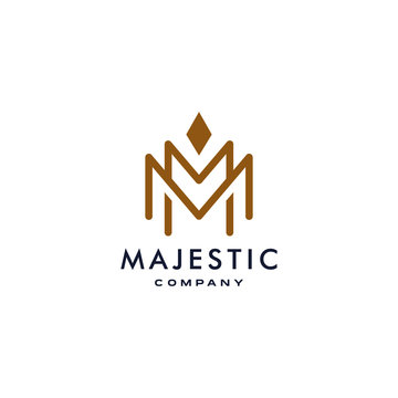 M logotype icon MM logo with crown element symbol in trendy minimal elegant and luxury style