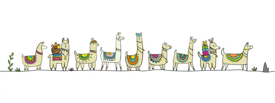 Cute lamas family. Sketch for your design