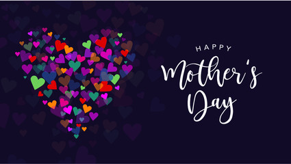 Happy Mother's Day Vector Calligraphy with Colorful Hearts Illustration Fotomurales
