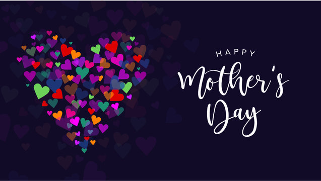 Happy Mother's Day Vector Calligraphy with Colorful Hearts Illustration