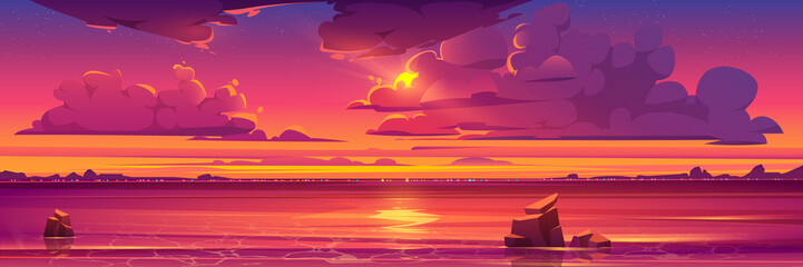 Sunset in ocean, pink clouds in sky with shining sun above sea with rocks sticking up of water and city lights on opposite shore, nature landscape background, evening view. Cartoon vector illustration Fotobehang