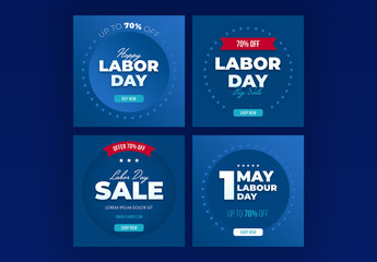 Labor Day Sale Social Media Post Layout Set with Blue Accents