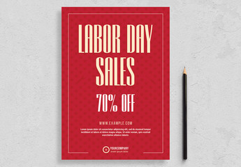 Labor Day Flyer Layout with Red Accents