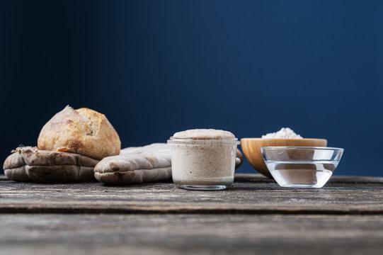 Still life with sourdough starter yeast