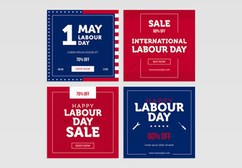 Us Labor Day Sale Social Media Post Layout Set