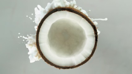 Wall Mural - Super Slow Motion Shot of Milk Splashing on Coconut at 4K isolated on grey.