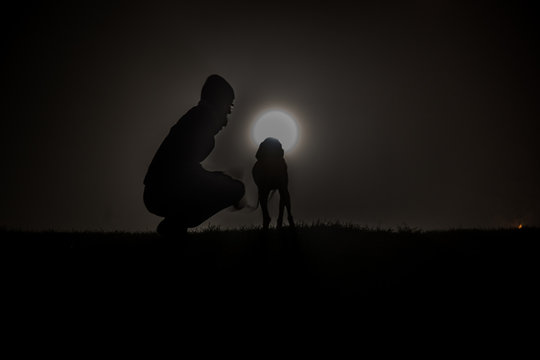 Man Crouching By Dog On Field At Night