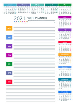 2021 Week Planner Calendar. Week starts monday. Color