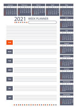 2021 Week Planner Calendar