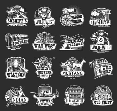 Wild West and Western vector icons. Cowboy, sheriff and bull skull, bandit hat and gun, ranger star, native american wagon, horseshoe and indian chief, texas saloon, rodeo horse, arrows and teepee
