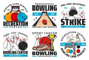 Bowling sport club vector icons with game balls and pin strike on alley, bowling competition winner trophy cup, player and shoes. Leisure recreation center or sporting tournament emblems design