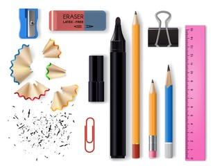 Fototapeta Stationery realistic design of school and office supplies vector design. 3d pencils, eraser, marker pen and sharpener, plastic ruler, paper and binder clips with pencil shavings and graphite obraz