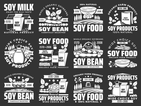 Soybean legume icons of soy bean food products. Vector soy milk, oil and sauce bottle, tofu, miso and soya meat skin, tempeh, flour and noodle bowl symbols with soybean pods, sprouted beans and leaves