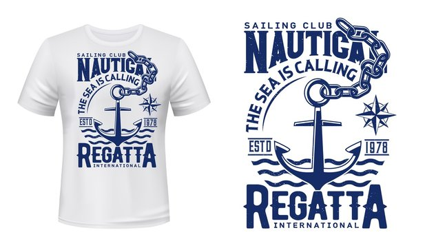 Nautical anchor t-shirt print of yacht club regatta and sailing sport. Vector mockup with anchor, chain, marine navigation compass wind rose and sea waves, yachting, sailboat racing or cruising design