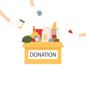 Coronavirus donation food volunteer. Donation box with a heart and hands in gloves giving goodies. Box with different types of food supplies. Vector Illustration