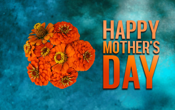 Mother's day holiday concept, top view of orange zinnia floral bouquet on turquoise texture background with text.