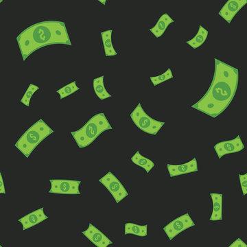 Dollar bills seamless pattern. Money falling from sky, illustration texture background.