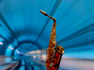 Saxophone on stage. Brass instrument. Jazz concert. Saxophone. Wall mural
